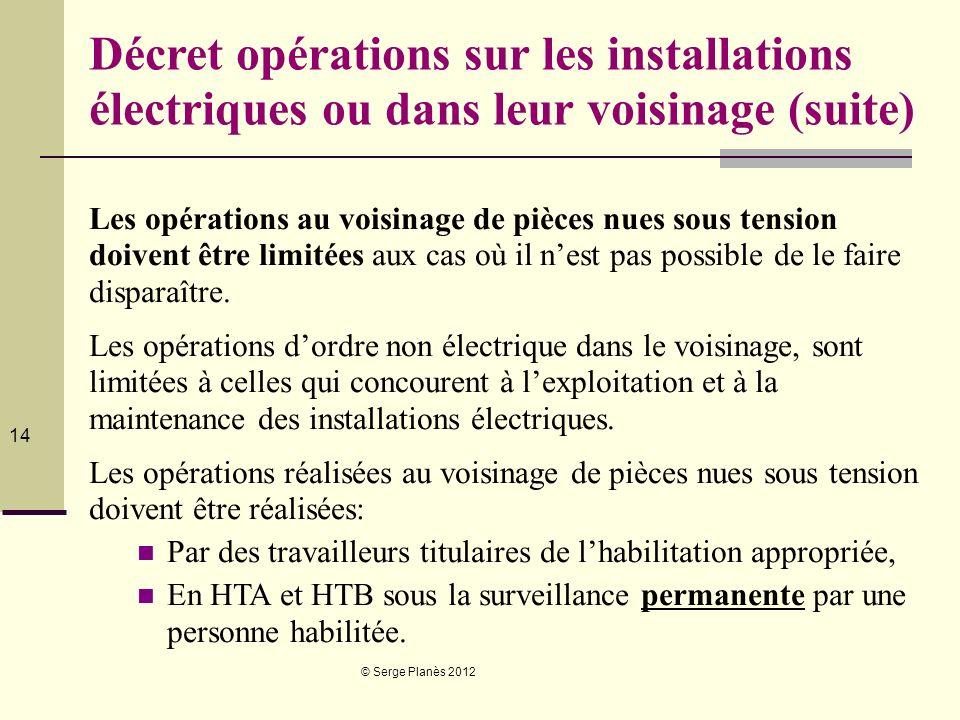 © Serge Planès 2012 14 Décret opérations sur les installations électriques ou dans leur voisinage (suite) Les opérations au voisinage de pièces nues s
