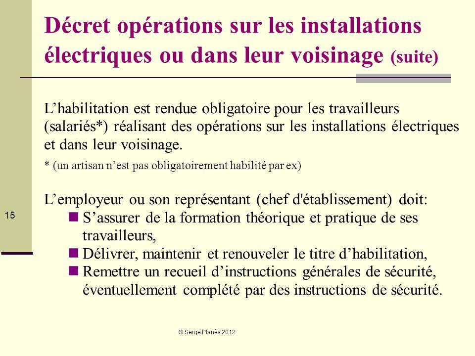 © Serge Planès 2012 15 Décret opérations sur les installations électriques ou dans leur voisinage (suite) Lhabilitation est rendue obligatoire pour le