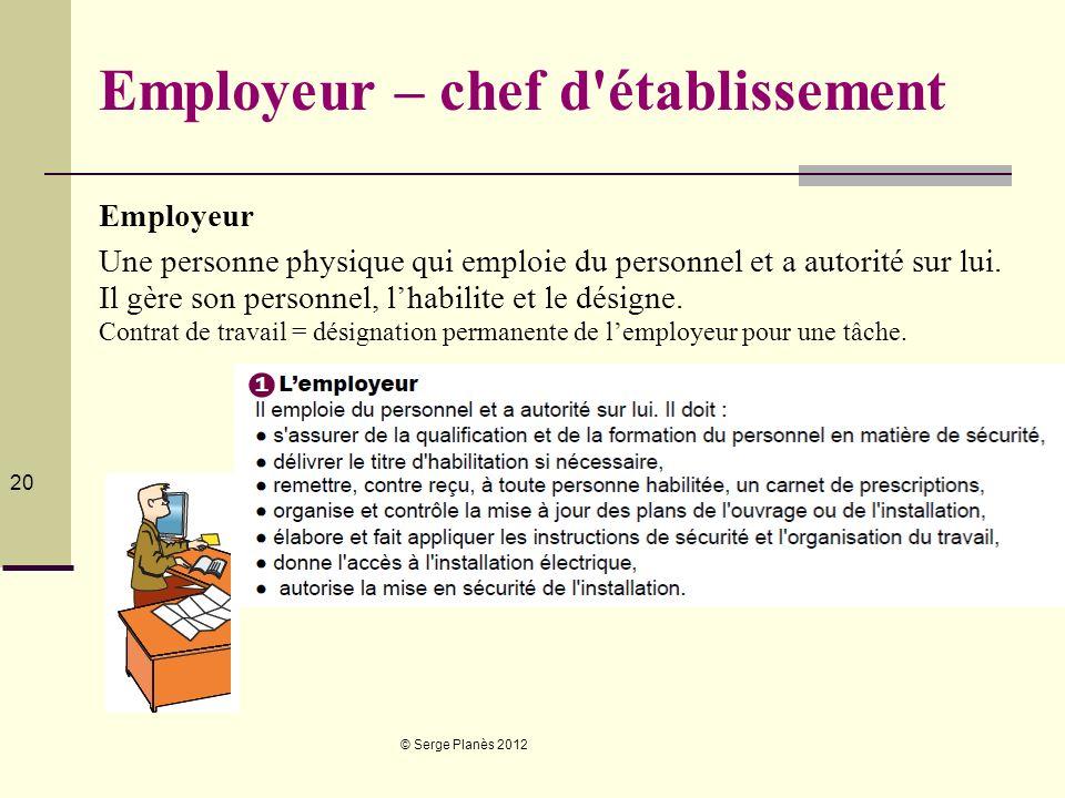 © Serge Planès 2012 20 Employeur – chef d'établissement Employeur Une personne physique qui emploie du personnel et a autorité sur lui. Il gère son pe