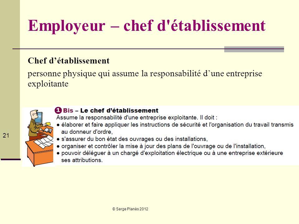 © Serge Planès 2012 21 Employeur – chef d'établissement Chef détablissement personne physique qui assume la responsabilité dune entreprise exploitante