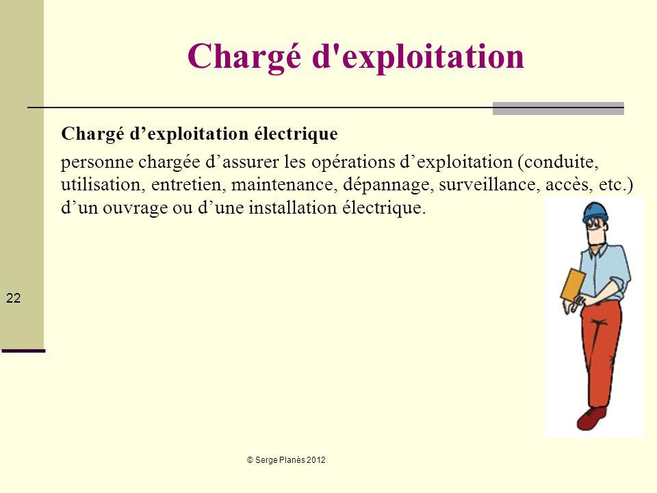 © Serge Planès 2012 22 Chargé d'exploitation Chargé dexploitation électrique personne chargée dassurer les opérations dexploitation (conduite, utilisa