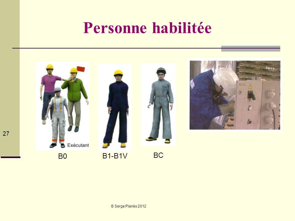 © Serge Planès 2012 27 Personne habilitée B0 B1-B1V BC