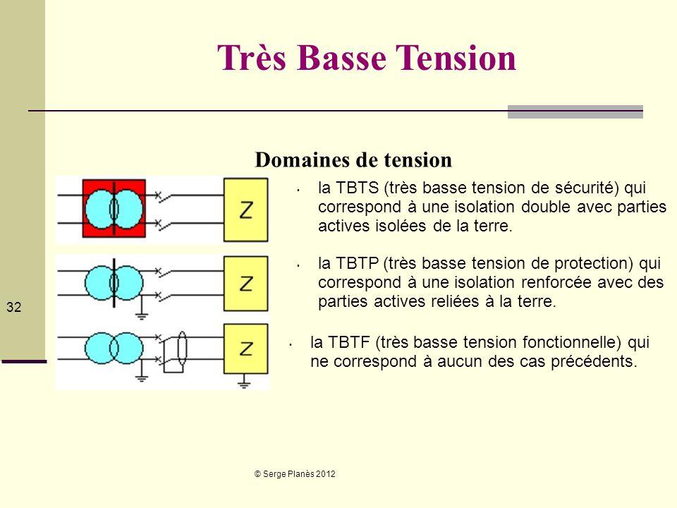 © Serge Planès 2012 32 Très Basse Tension Domaines de tension la TBTS (très basse tension de sécurité) qui correspond à une isolation double avec part