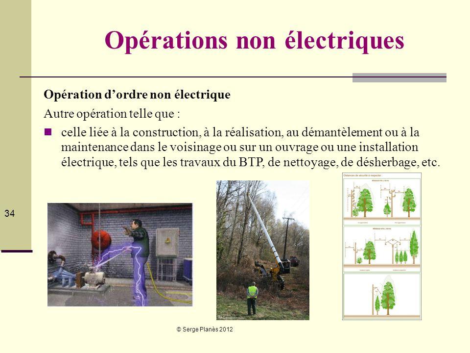 © Serge Planès 2012 34 Opérations non électriques Opération dordre non électrique Autre opération telle que : celle liée à la construction, à la réali