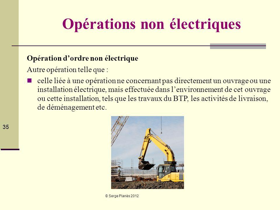 © Serge Planès 2012 35 Opérations non électriques Opération dordre non électrique Autre opération telle que : celle liée à une opération ne concernant