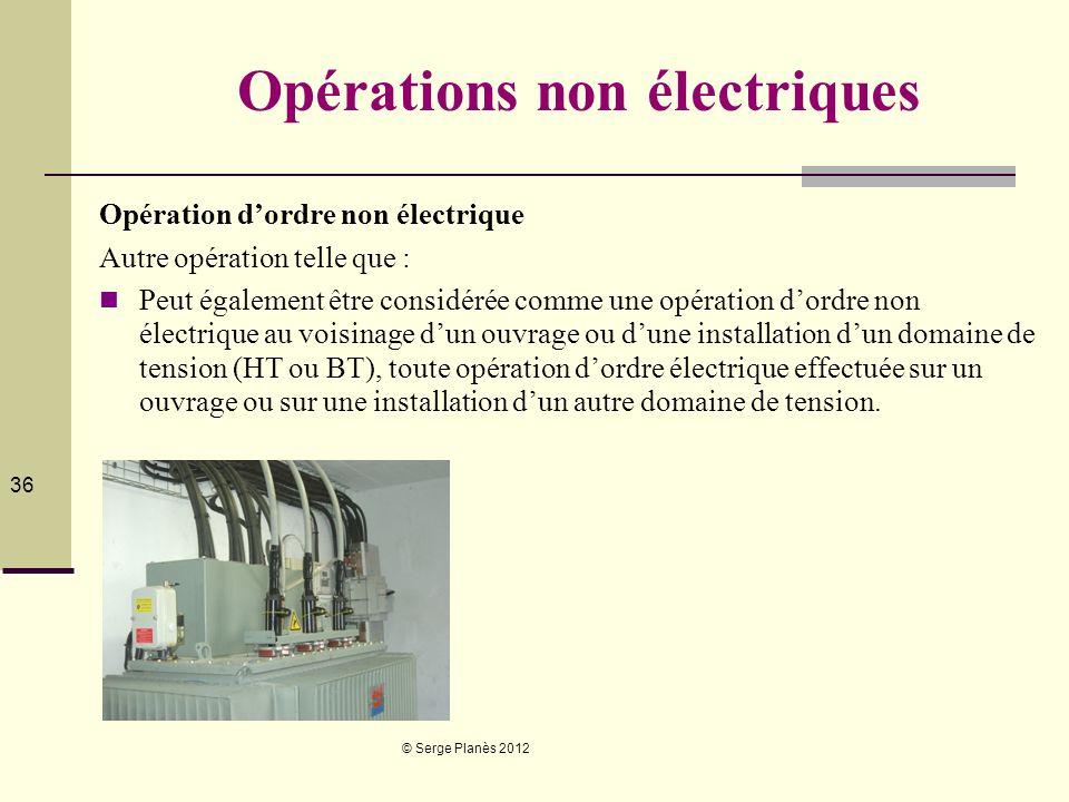 © Serge Planès 2012 36 Opérations non électriques Opération dordre non électrique Autre opération telle que : Peut également être considérée comme une