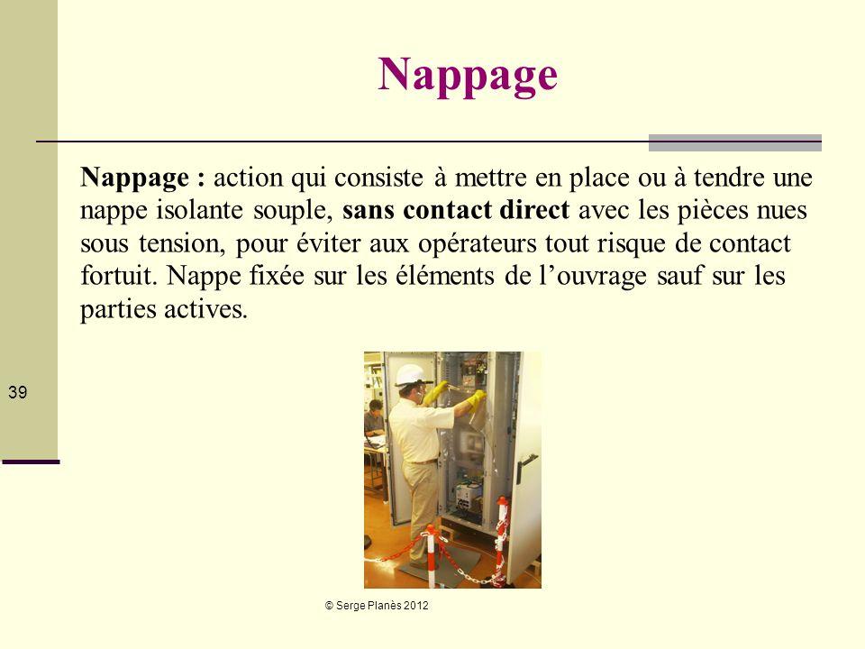 © Serge Planès 2012 39 Nappage Nappage : action qui consiste à mettre en place ou à tendre une nappe isolante souple, sans contact direct avec les piè