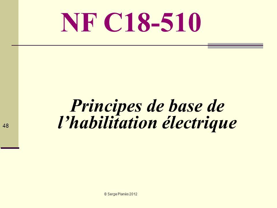© Serge Planès 2012 48 Principes de base de lhabilitation électrique NF C18-510