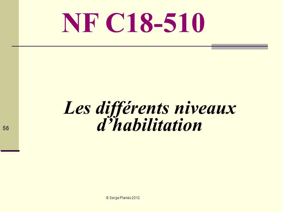 © Serge Planès 2012 56 Les différents niveaux dhabilitation NF C18-510