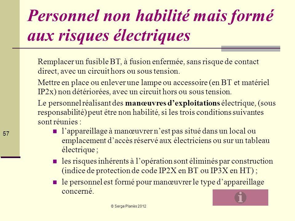 © Serge Planès 2012 57 Personnel non habilité mais formé aux risques électriques Remplacer un fusible BT, à fusion enfermée, sans risque de contact di