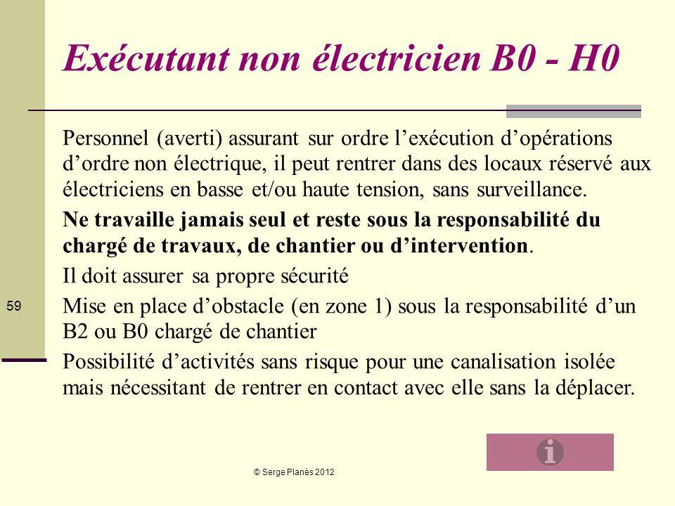 © Serge Planès 2012 59 Exécutant non électricien B0 - H0 Personnel (averti) assurant sur ordre lexécution dopérations dordre non électrique, il peut r
