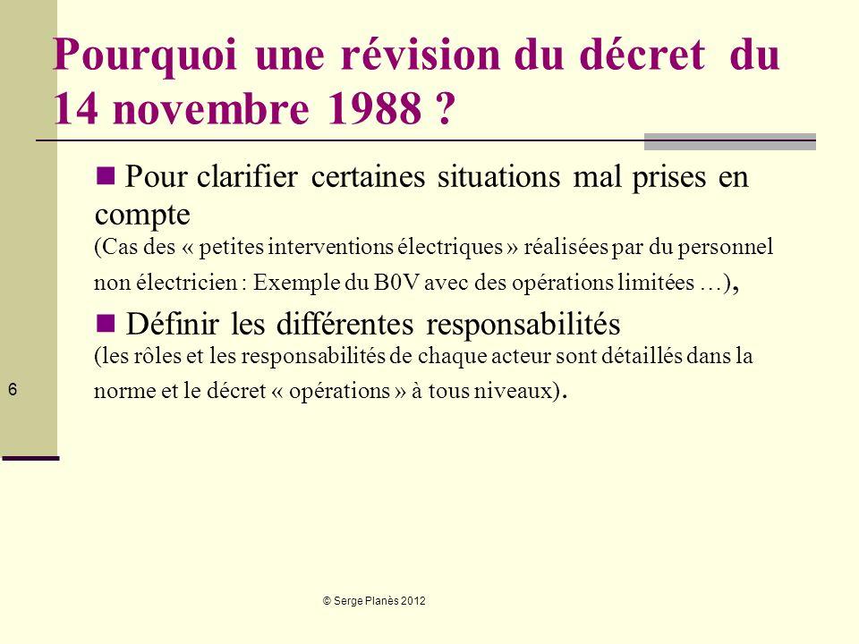 © Serge Planès 2012 6 Pourquoi une révision du décret du 14 novembre 1988 ? Pour clarifier certaines situations mal prises en compte (Cas des « petite