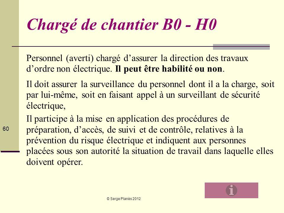 © Serge Planès 2012 60 Chargé de chantier B0 - H0 Personnel (averti) chargé dassurer la direction des travaux dordre non électrique. Il peut être habi