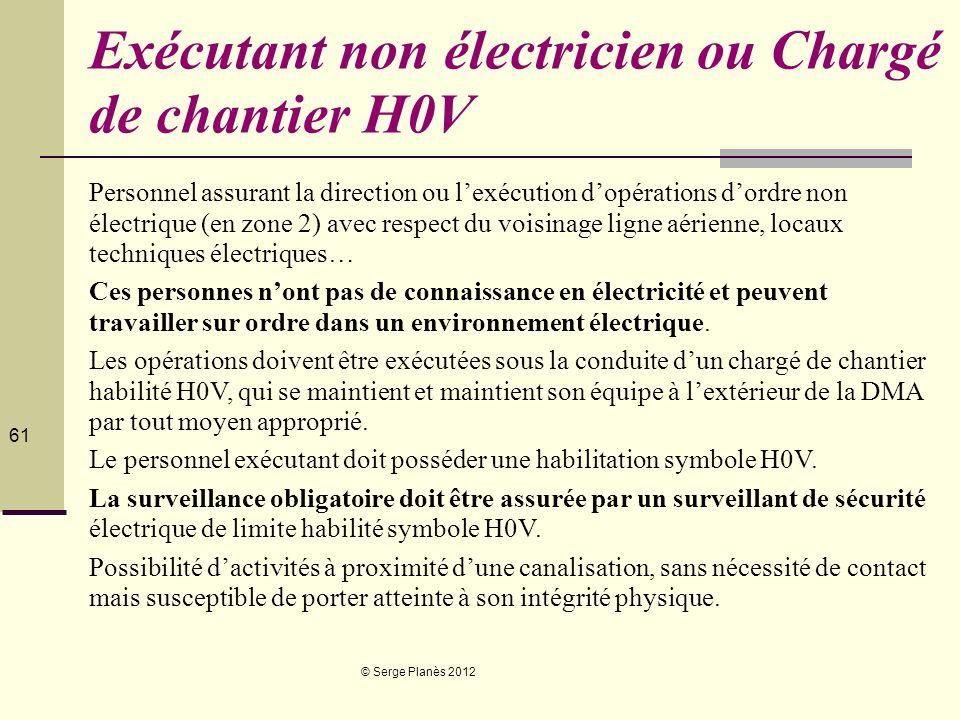 © Serge Planès 2012 61 Exécutant non électricien ou Chargé de chantier H0V Personnel assurant la direction ou lexécution dopérations dordre non électr