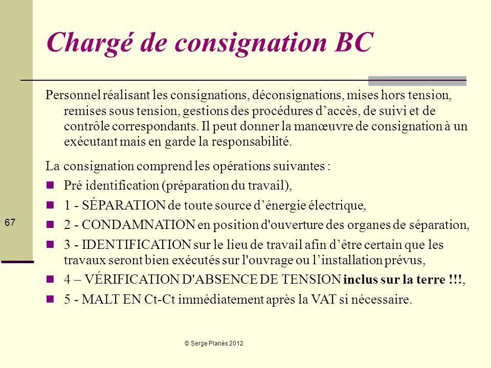 © Serge Planès 2012 67 Chargé de consignation BC Personnel réalisant les consignations, déconsignations, mises hors tension, remises sous tension, ges