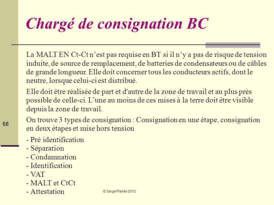 © Serge Planès 2012 68 Chargé de consignation BC La MALT EN Ct-Ct nest pas requise en BT si il ny a pas de risque de tension induite, de source de rem