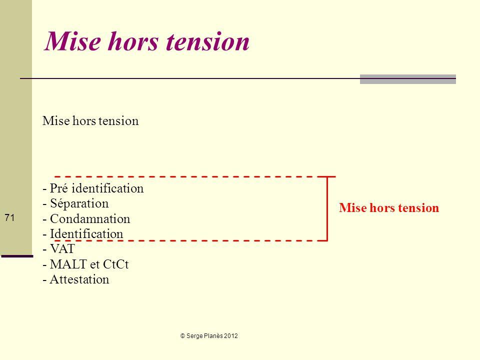 © Serge Planès 2012 71 Mise hors tension - Pré identification - Séparation - Condamnation - Identification - VAT - MALT et CtCt - Attestation Mise hor