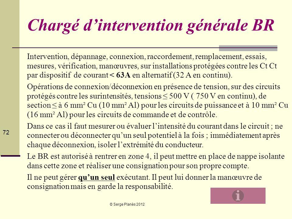 © Serge Planès 2012 72 Chargé dintervention générale BR Intervention, dépannage, connexion, raccordement, remplacement, essais, mesures, vérification,
