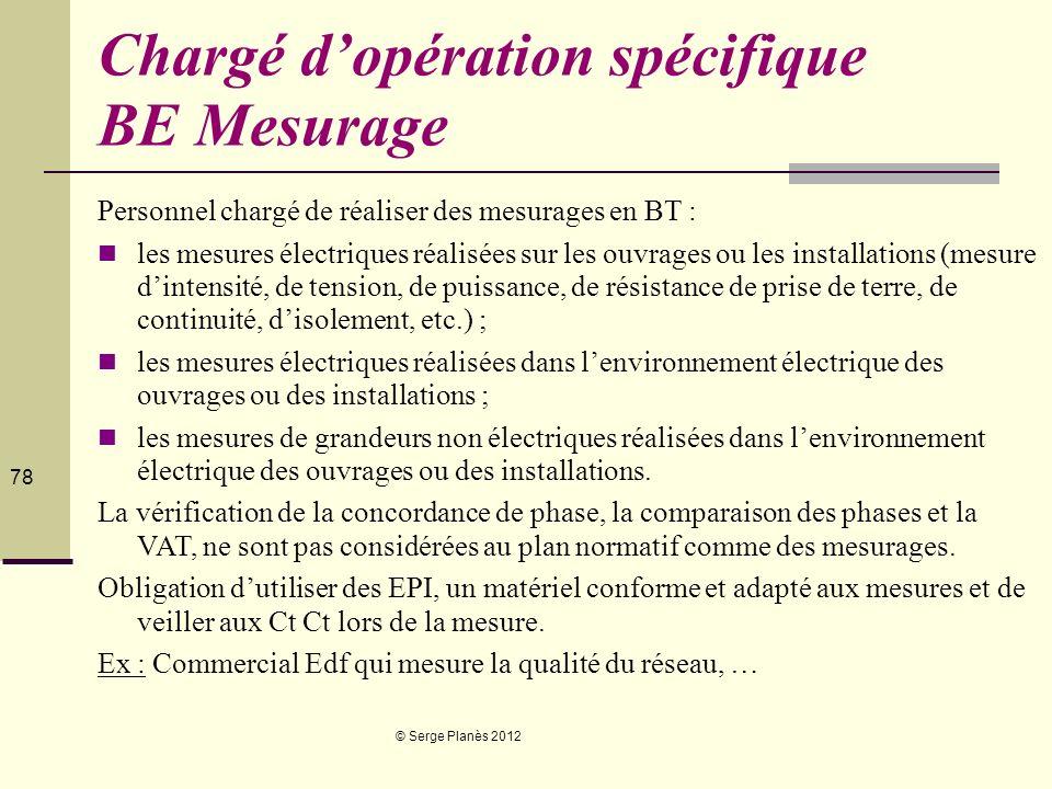 © Serge Planès 2012 78 Chargé dopération spécifique BE Mesurage Personnel chargé de réaliser des mesurages en BT : les mesures électriques réalisées s
