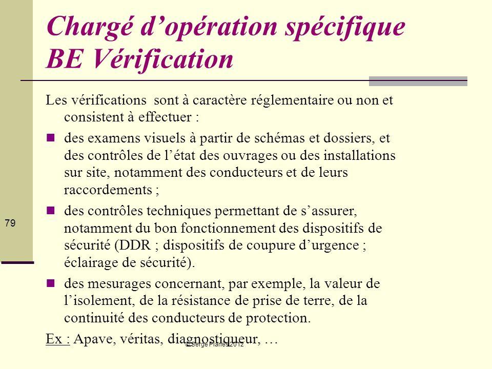 © Serge Planès 2012 79 Chargé dopération spécifique BE Vérification Les vérifications sont à caractère réglementaire ou non et consistent à effectuer