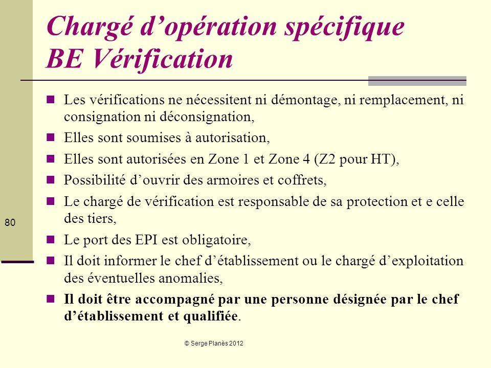 © Serge Planès 2012 80 Chargé dopération spécifique BE Vérification Les vérifications ne nécessitent ni démontage, ni remplacement, ni consignation ni