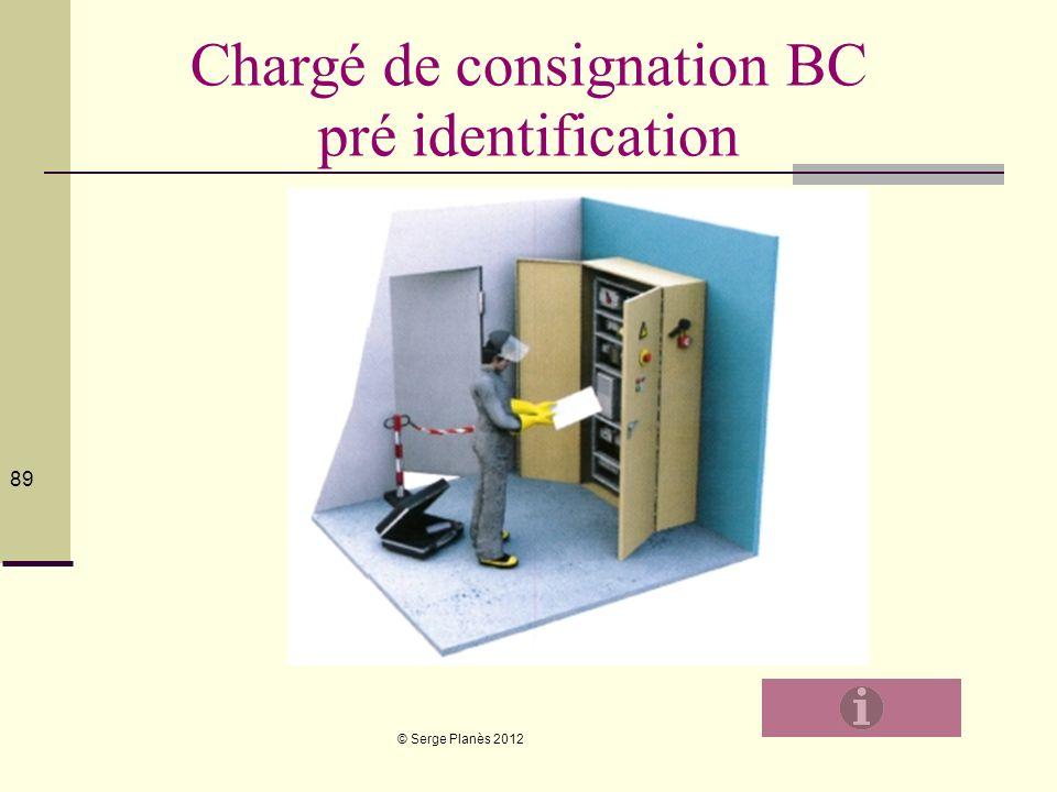© Serge Planès 2012 89 Chargé de consignation BC pré identification