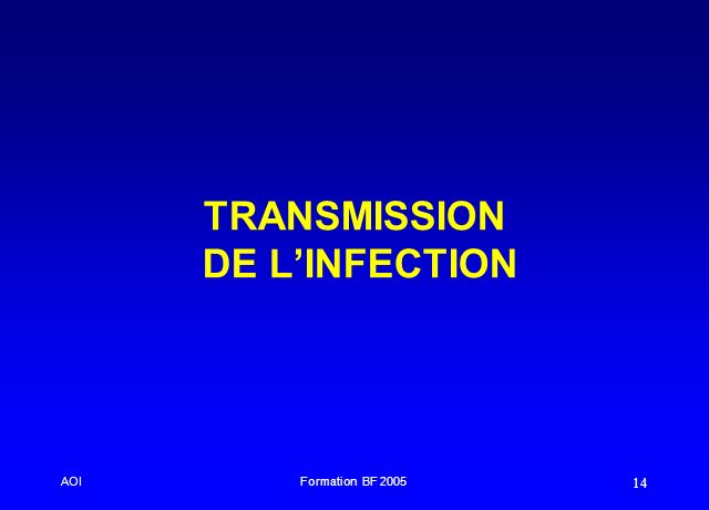 AOIFormation BF 2005 14 TRANSMISSION DE LINFECTION