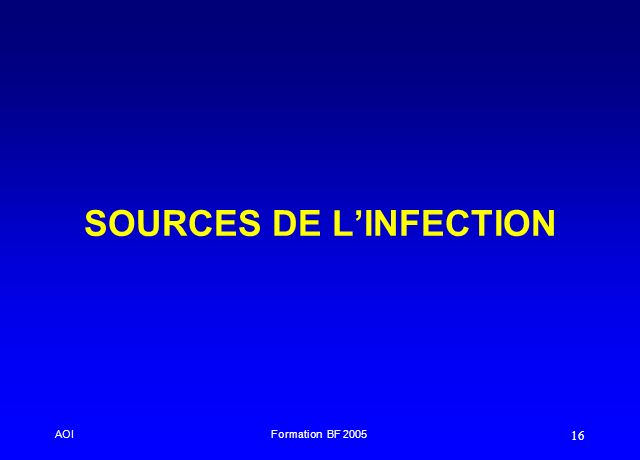 AOIFormation BF 2005 16 SOURCES DE LINFECTION
