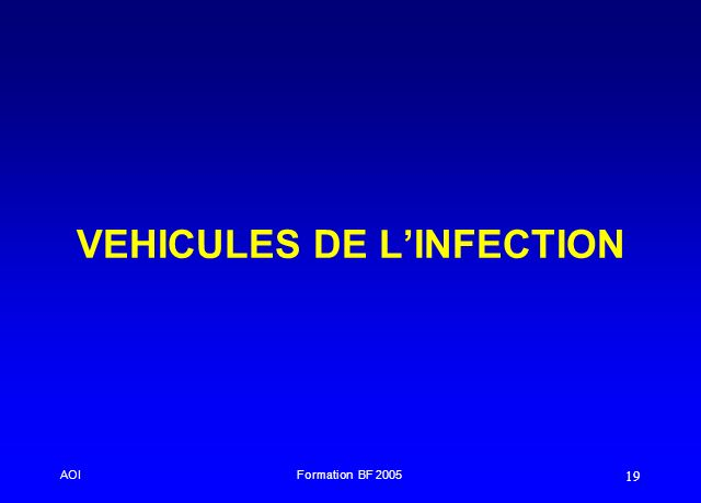 AOIFormation BF 2005 19 VEHICULES DE LINFECTION