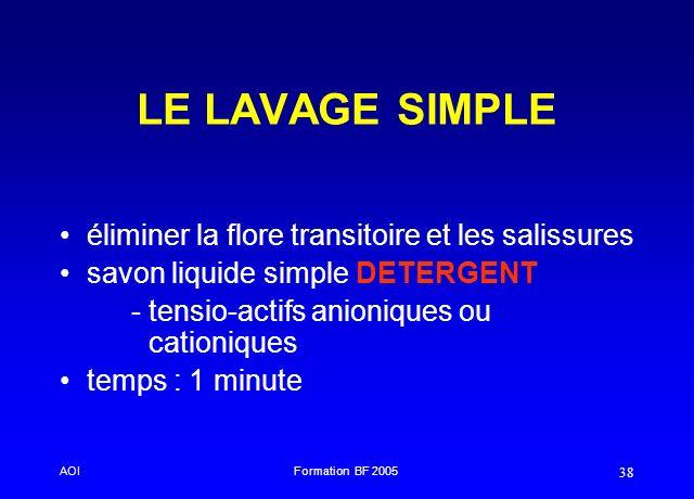 AOIFormation BF 2005 38 LE LAVAGE SIMPLE éliminer la flore transitoire et les salissures savon liquide simple DETERGENT - tensio-actifs anioniques ou