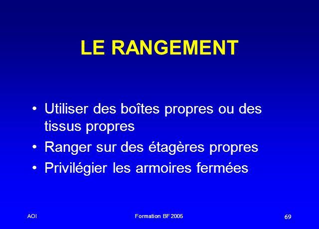 AOIFormation BF 2005 69 LE RANGEMENT Utiliser des boîtes propres ou des tissus propres Ranger sur des étagères propres Privilégier les armoires fermée