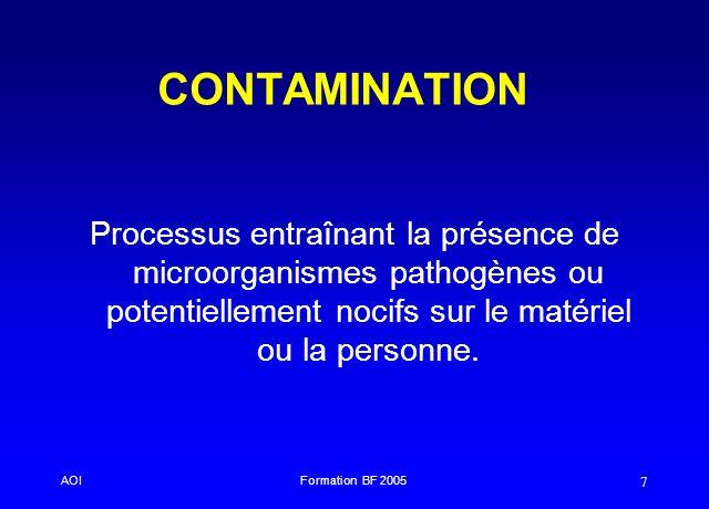 AOIFormation BF 2005 7 CONTAMINATION Processus entraînant la présence de microorganismes pathogènes ou potentiellement nocifs sur le matériel ou la pe