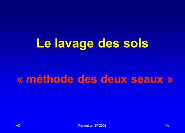 AOIFormation BF 2005 75 Le lavage des sols « méthode des deux seaux »