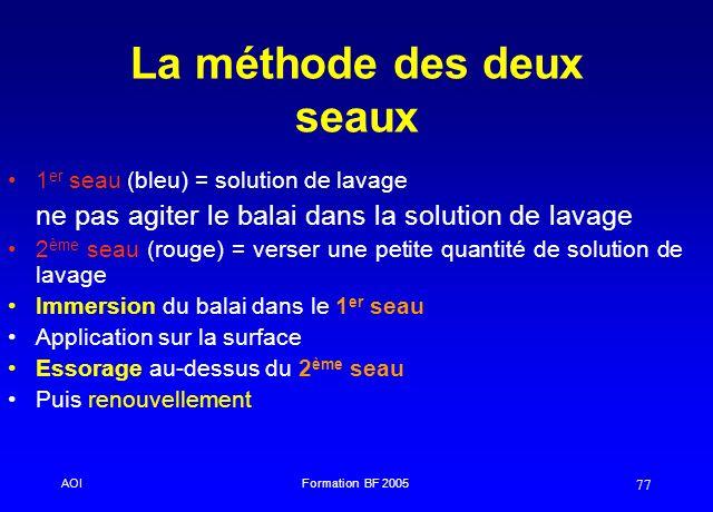 AOIFormation BF 2005 77 La méthode des deux seaux 1 er seau (bleu) = solution de lavage ne pas agiter le balai dans la solution de lavage 2 ème seau (