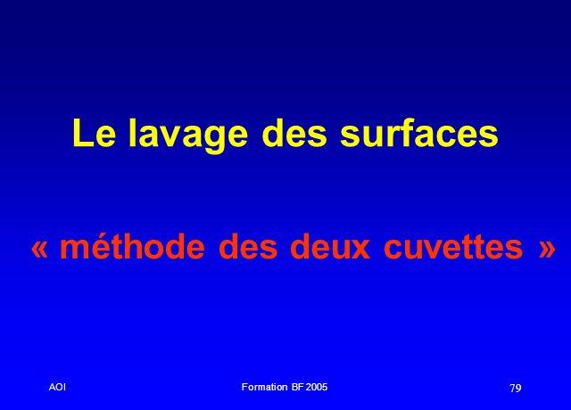 AOIFormation BF 2005 79 Le lavage des surfaces « méthode des deux cuvettes »
