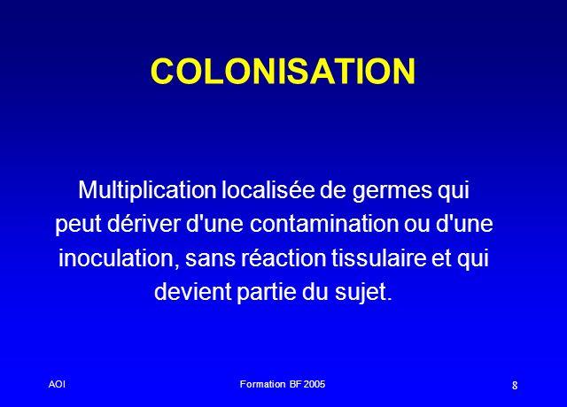 AOIFormation BF 2005 8 COLONISATION Multiplication localisée de germes qui peut dériver d'une contamination ou d'une inoculation, sans réaction tissul