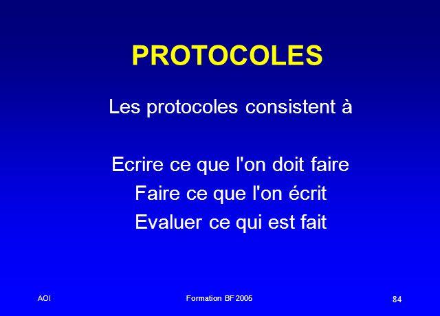 AOIFormation BF 2005 84 PROTOCOLES Les protocoles consistent à Ecrire ce que l'on doit faire Faire ce que l'on écrit Evaluer ce qui est fait