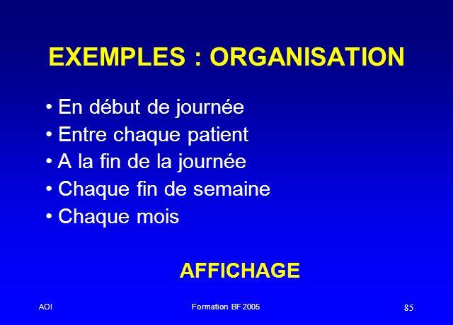 AOIFormation BF 2005 85 EXEMPLES : ORGANISATION En début de journée Entre chaque patient A la fin de la journée Chaque fin de semaine Chaque mois AFFI