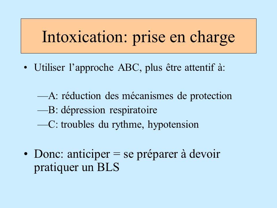 Intoxication: prise en charge Utiliser lapproche ABC, plus être attentif à: A: réduction des mécanismes de protection B: dépression respiratoire C: tr