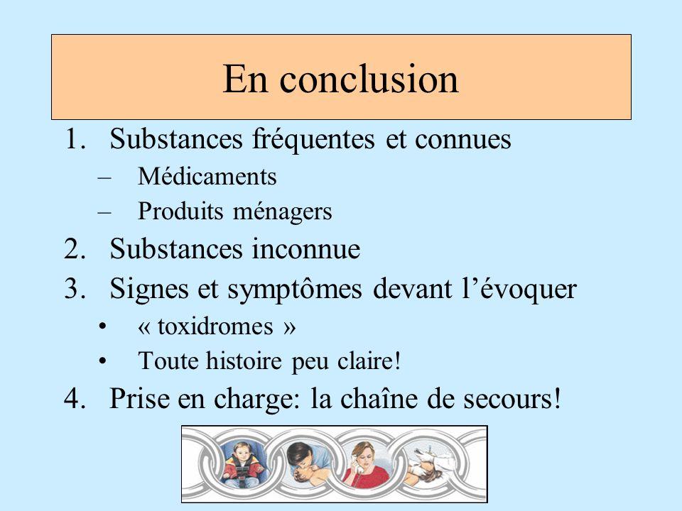 En conclusion 1.Substances fréquentes et connues –Médicaments –Produits ménagers 2.Substances inconnue 3.Signes et symptômes devant lévoquer « toxidro