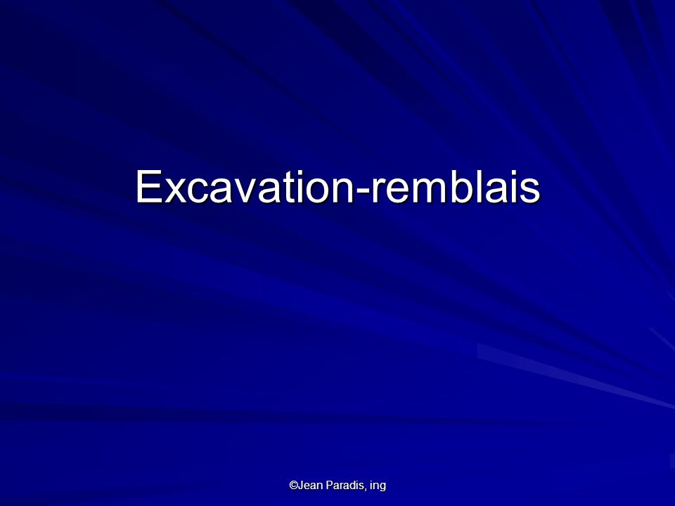 Excavation-remblais