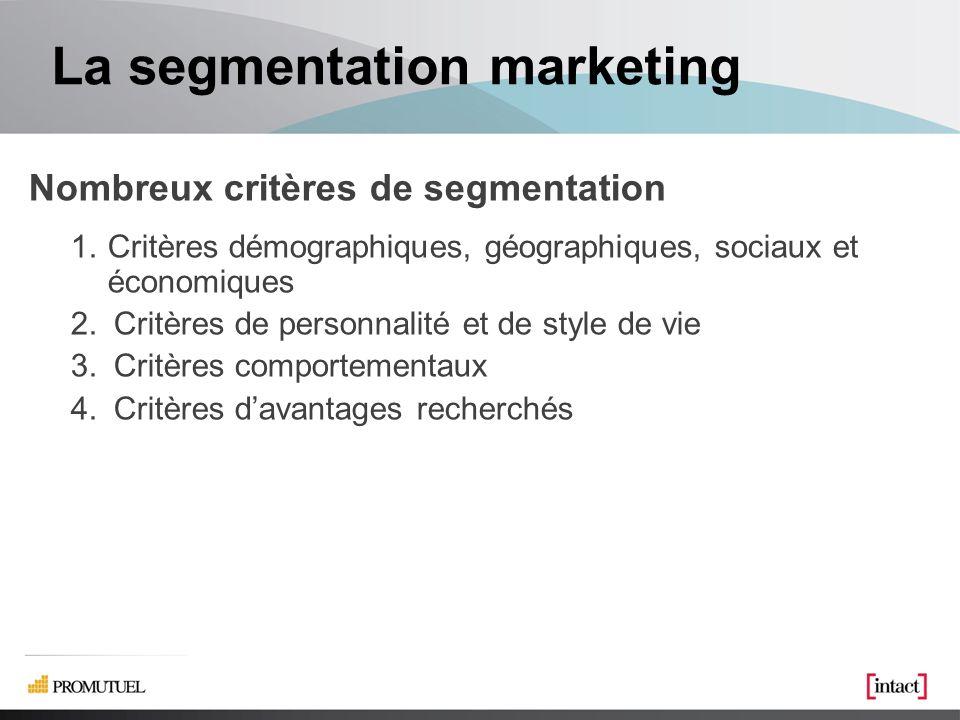 La segmentation marketing Nombreux critères de segmentation 1.Critères démographiques, géographiques, sociaux et économiques 2.Critères de personnalité et de style de vie 3.Critères comportementaux 4.Critères davantages recherchés