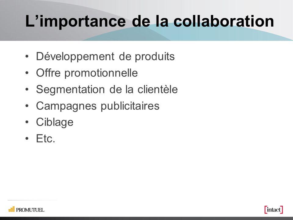 Limportance de la collaboration Développement de produits Offre promotionnelle Segmentation de la clientèle Campagnes publicitaires Ciblage Etc.