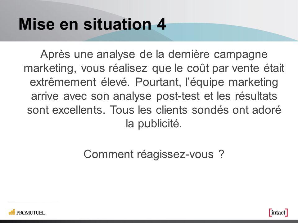 Mise en situation 4 Après une analyse de la dernière campagne marketing, vous réalisez que le coût par vente était extrêmement élevé.