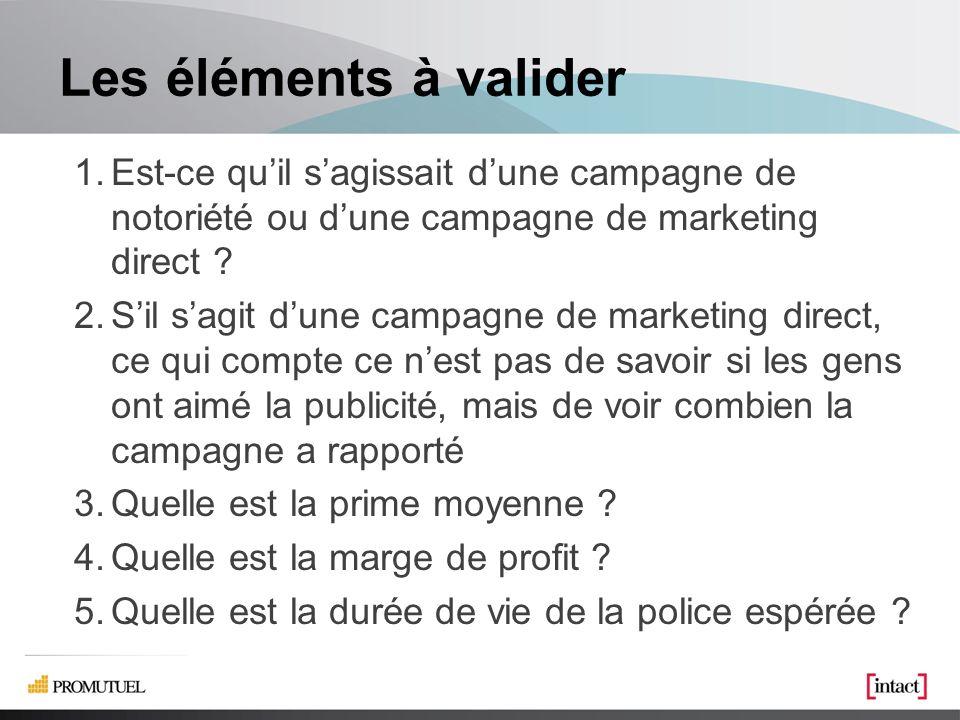 Les éléments à valider 1.Est-ce quil sagissait dune campagne de notoriété ou dune campagne de marketing direct .
