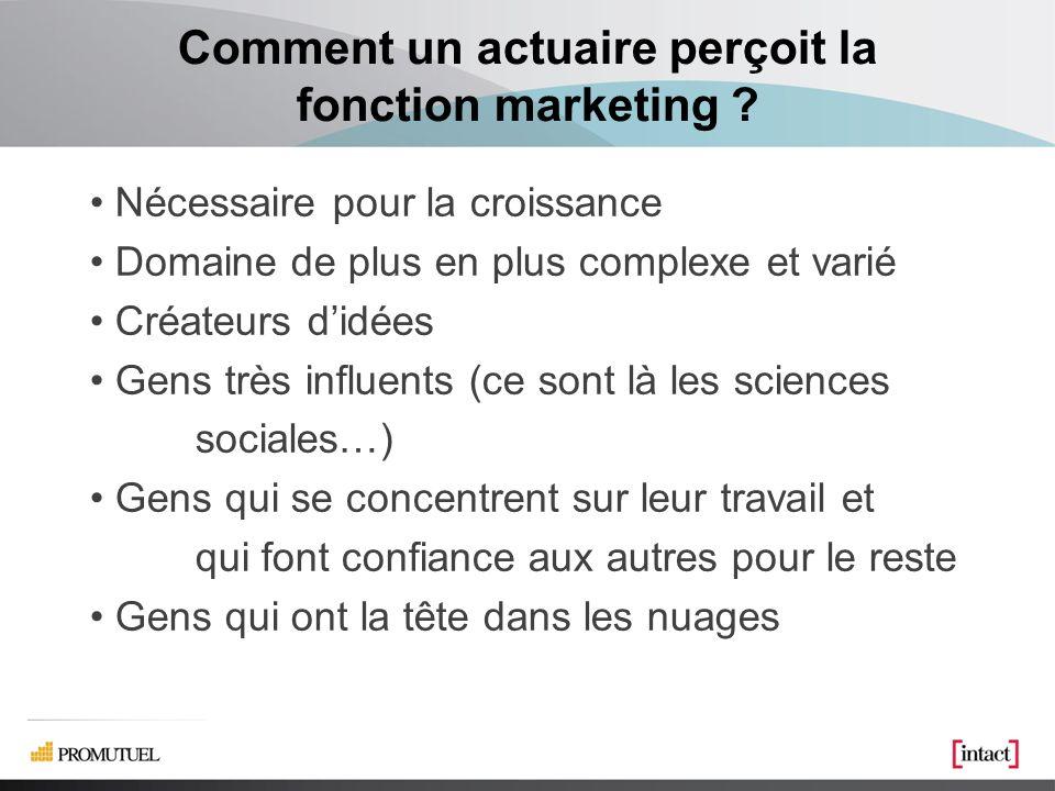 Comment un spécialiste en marketing perçoit la fonction actuariat .