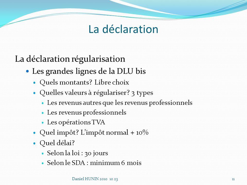 La déclaration La déclaration régularisation Les grandes lignes de la DLU bis Quels montants.