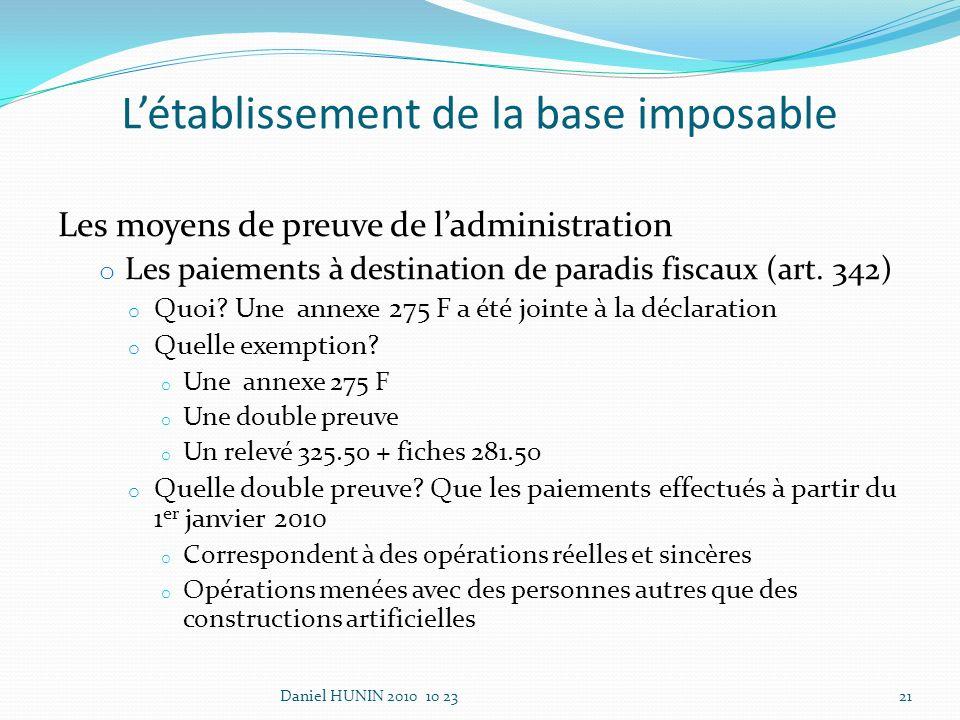 Les moyens de preuve de ladministration o Les paiements à destination de paradis fiscaux (art.