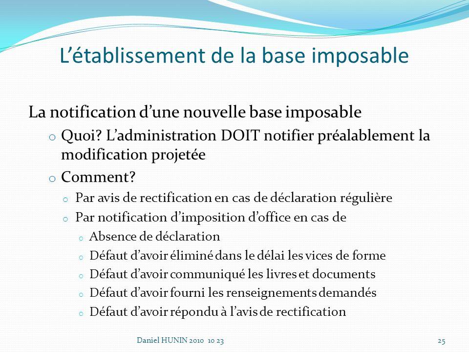 La notification dune nouvelle base imposable o Quoi.