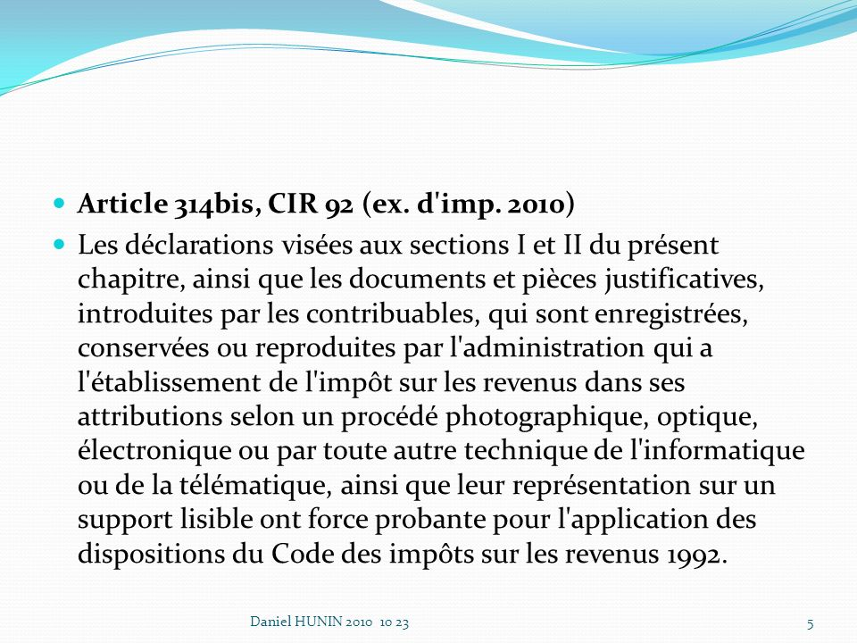 Article 314bis, CIR 92 (ex. d imp.